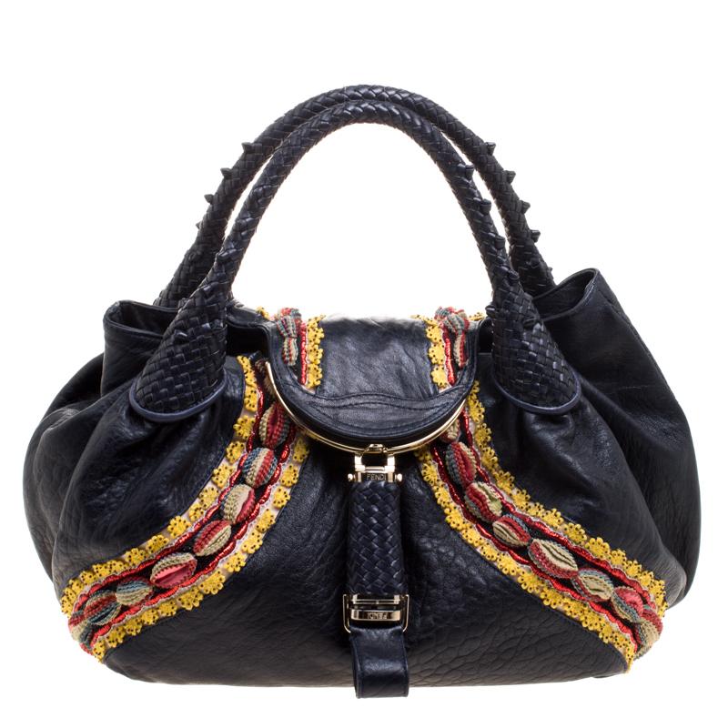de37533fca0 ... Fendi Dark Blue Leather Embroidered Limited Edition Spy Bag. nextprev.  prevnext