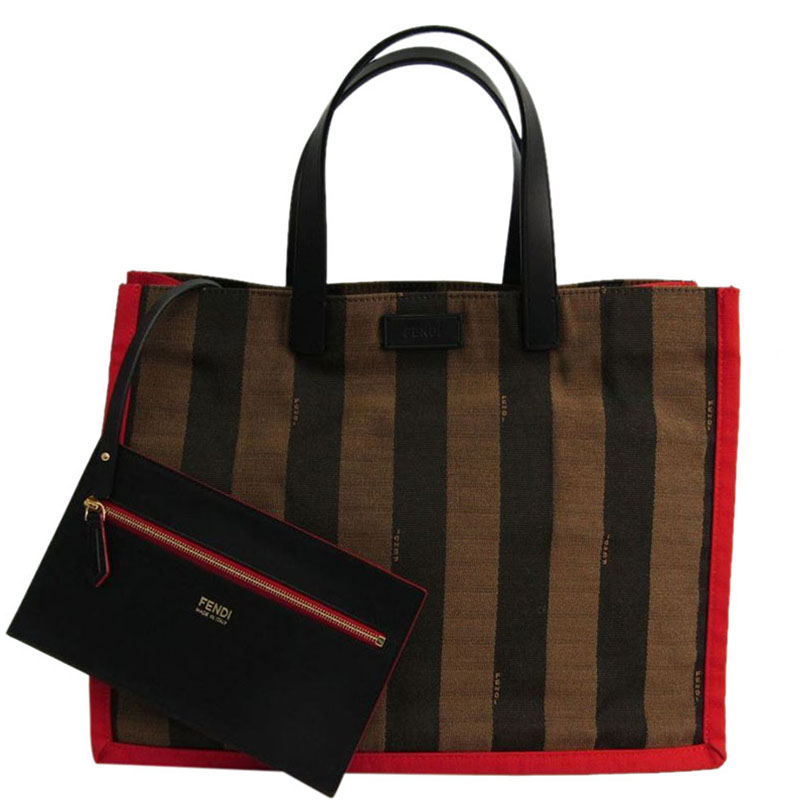 e1ffdf49edfb Buy Fendi Red Tobacco Pequin Stripe Canvas Tote 120443 at best price ...