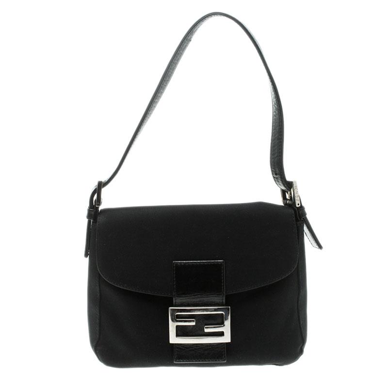 1f8f06e69ff5 Buy Fendi Black Fabric Baguette Shoulder Bag 125489 at best price