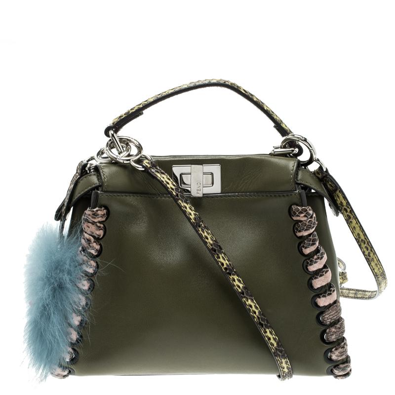 c5b7258c09 Fendi Olive Green Leather and Python Trim Mini Peekaboo Top Handle Bag
