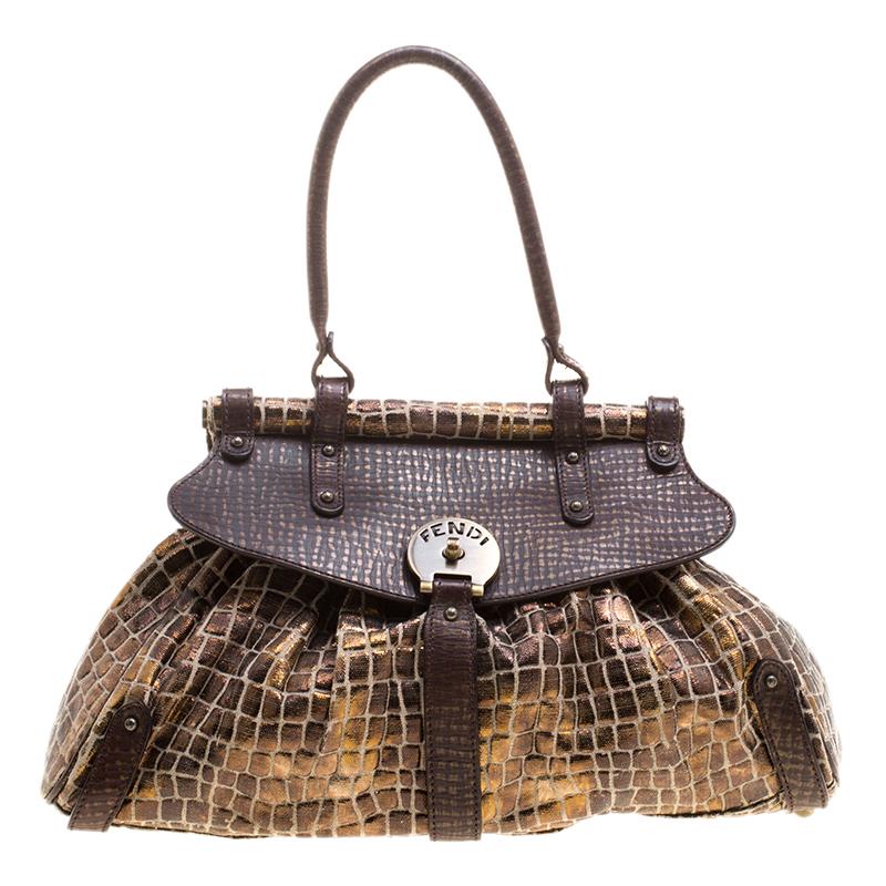 204d68ca Fendi Black/Gold Croc Embossed Canvas Medium Magic Bag