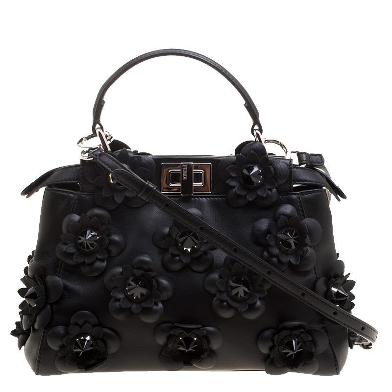 6555debad58d ... Fendi Black Leather Mini Peekaboo Allover Flowers Black Edition Top  Handle Bag. nextprev. prevnext
