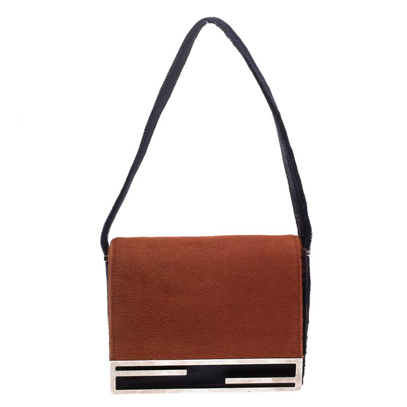 9bcce745a3 ... Fendi Orange/Purple Calfhair Flap Shoulder Bag. nextprev. prevnext