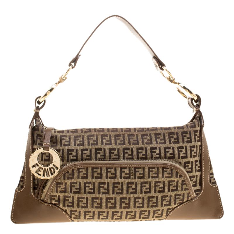d56c22d6cd22 ... Fendi Brown Zucchino Canvas and Leather Front Pocket Shoulder Bag.  nextprev. prevnext