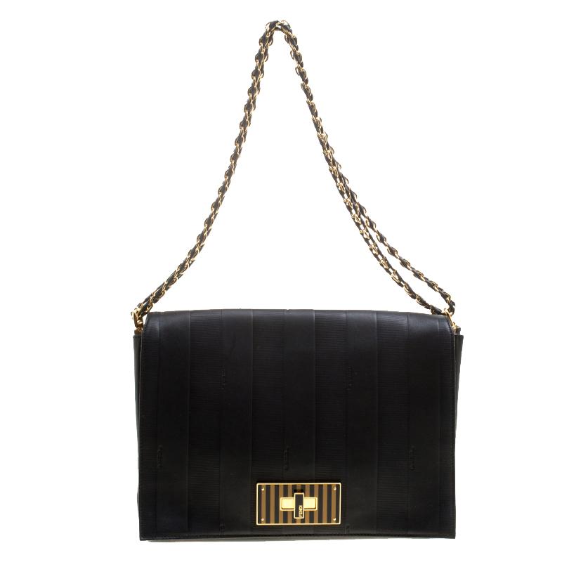 86ff19422f44 Buy Fendi Black Leather Pequin Tonal Strip Shoulder Bag 132933 at ...