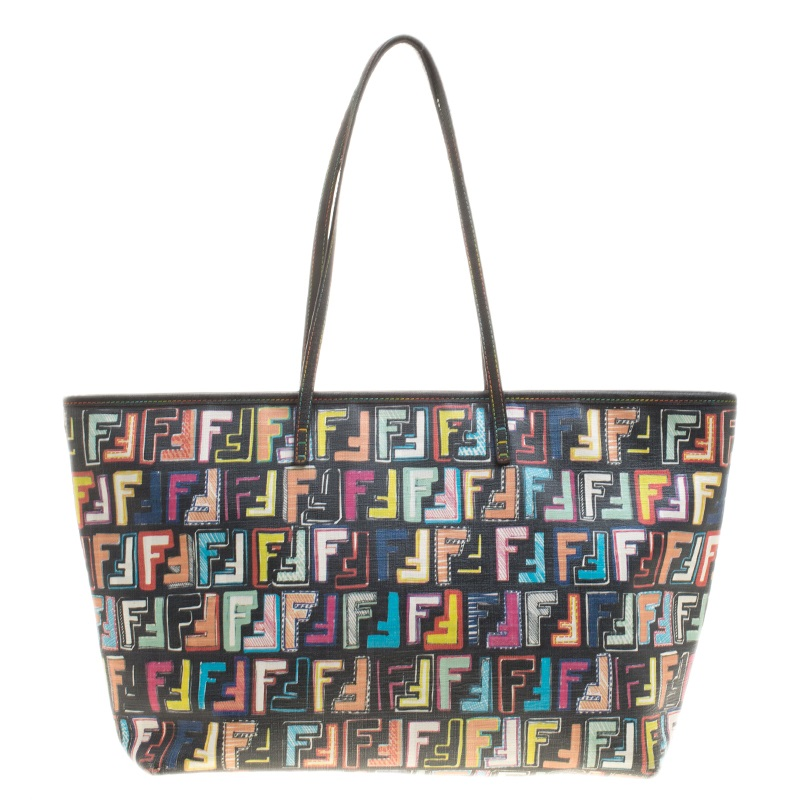 7b9fbbbe4a Buy Fendi Multicolor Zucca Coated Canvas Roll Tote 134142 at best ...