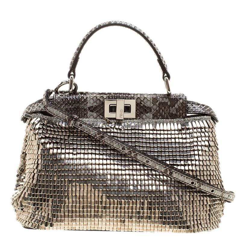 58bc71c5e110 ... Fendi Multicolor Metal Embellised with Python Trim Mini Peekaboo Top  Handle Bag. nextprev. prevnext