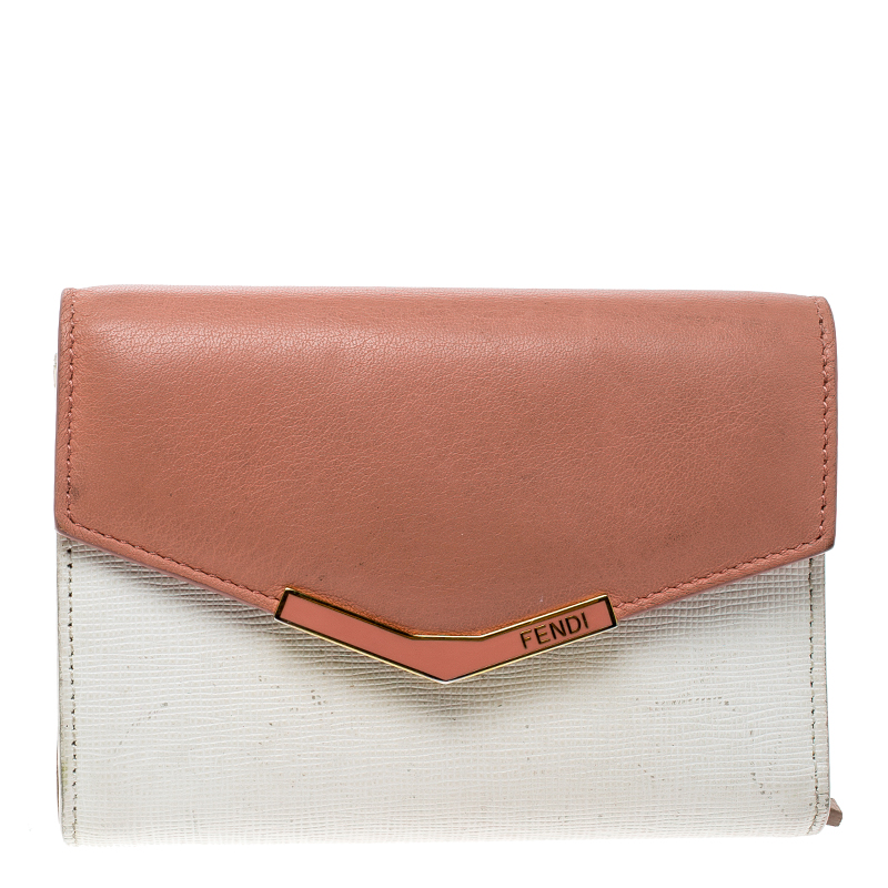 744042f556 Fendi White/Peach Leather Small 2Jours Wallet