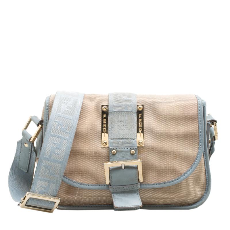 Buy Fendi Beige Light Blue Canvas and Leather Crossbody Bag 139443 ... 7e48b8382118c