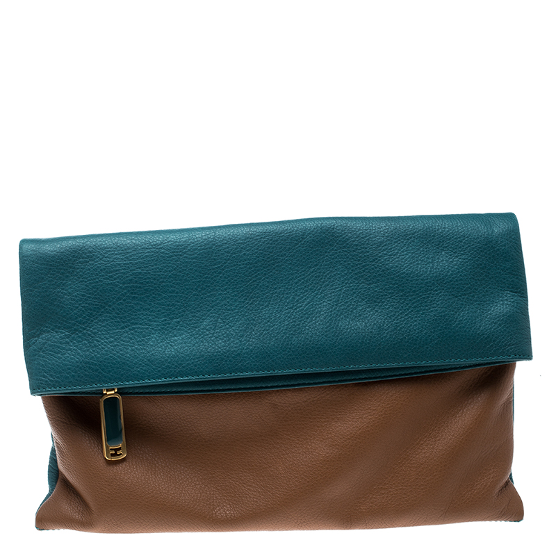 d7bf730427 Buy Fendi Brown/Green Leather Foldover Clutch 139597 at best price | TLC