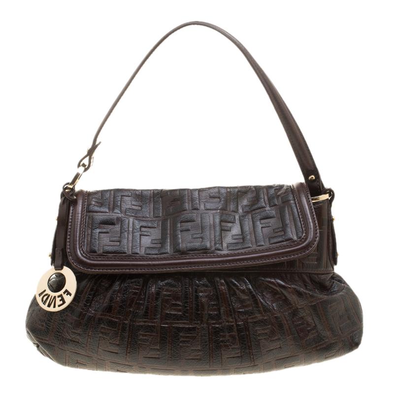 f220384973 Fendi Dark Brown Zucca Embossed Leather Chef Shoulder Bag