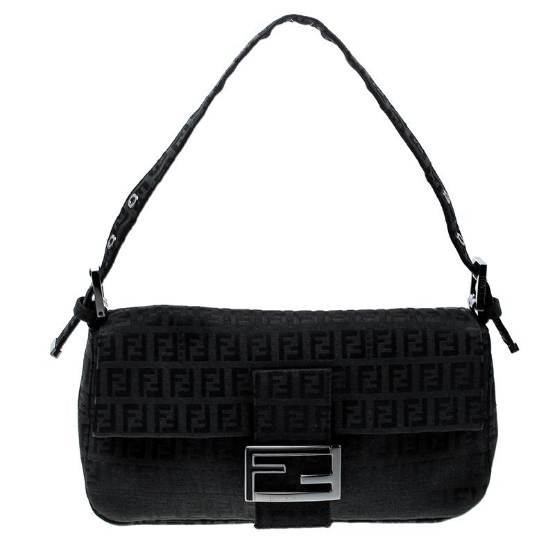 5d31f9ae4b46 ... Fendi Black Zucchino Canvas Mama Baguette Shoulder Bag. nextprev.  prevnext