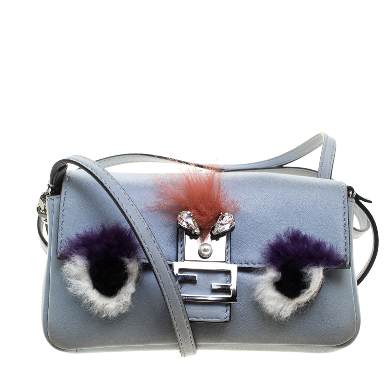 48faea5232 ... Fendi Light Blue Leather and Fur Trim Micro Baguette Shoulder Bag.  nextprev. prevnext