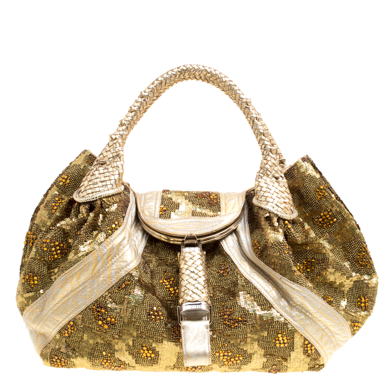 bdfeaf69ec72 ... Fendi Gold Leather Beads and Sequin Limited Edition 9 10 Spy Bag.  nextprev. prevnext
