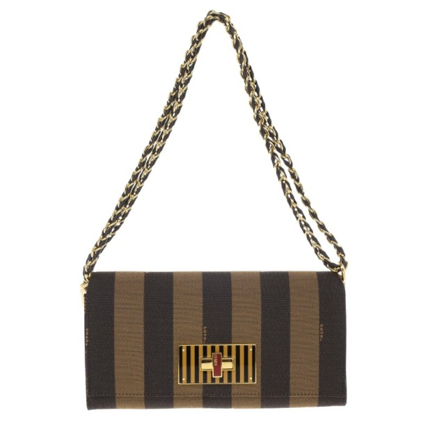e6cfd373c6 Buy Fendi Brown Canvas Pequin Small Claudia Shoulder Bag 14860 at best  price | TLC