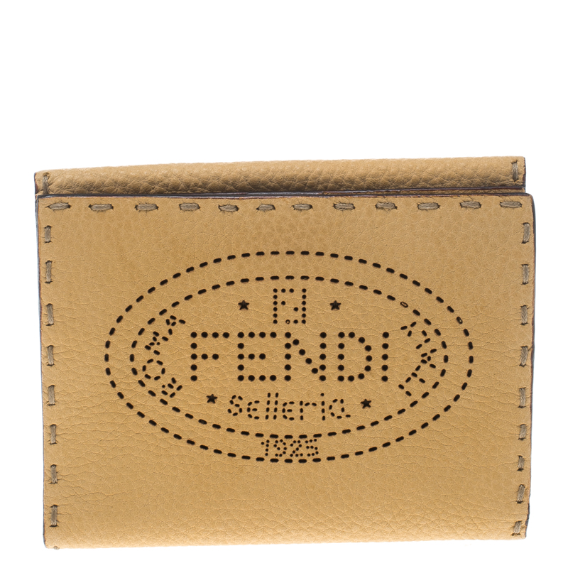 3a964975d3 Fendi Tan Selleria Leather Compact Wallet