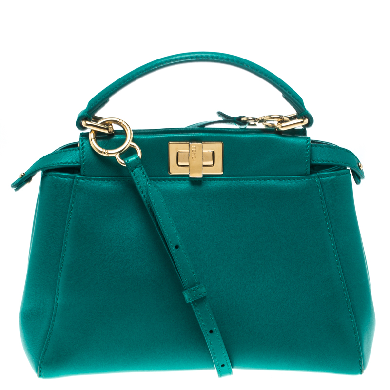 eb4c6afbaed7 ... Fendi Green Leather Mini Peekaboo Top Handle Bag. nextprev. prevnext