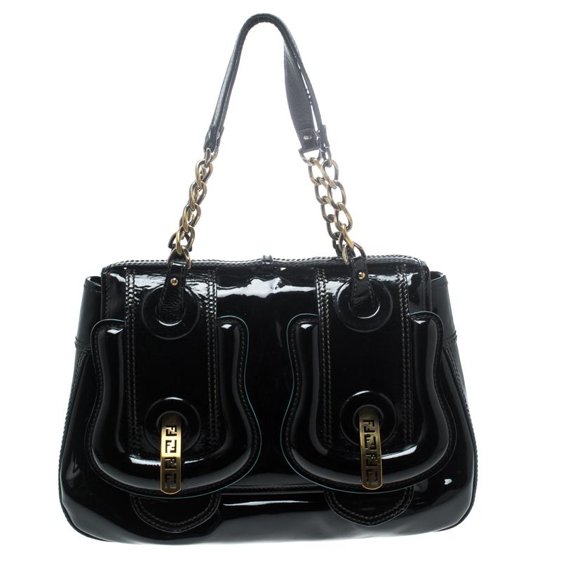 274d65ced7 Buy Fendi Black Patent Leather B Shoulder Bag 152160 at best price