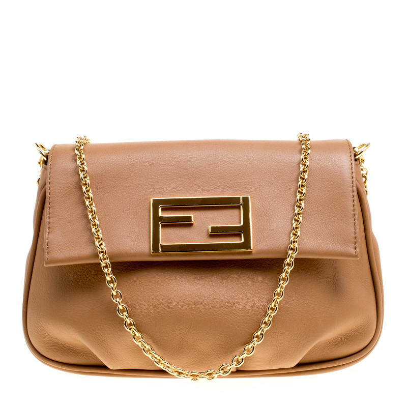 26daf21ff7d Buy Fendi Light Brown Leather Fendista Pochette Crossbody Bag 154140 at  best price