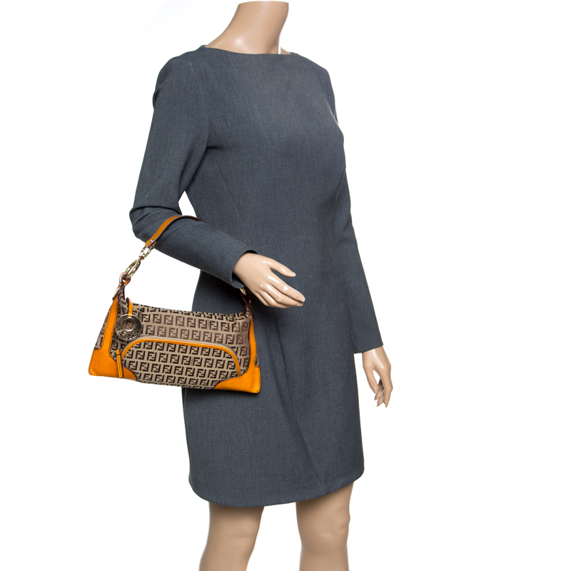 Fendi Beige/Orange Zucchino Canvas Shoulder Bag