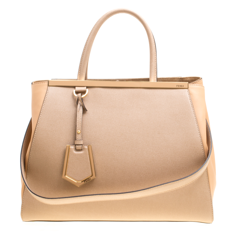 Buy Fendi Beige Saffiano Leather 2Jours Tote 156093 at best price  629cf3295a615