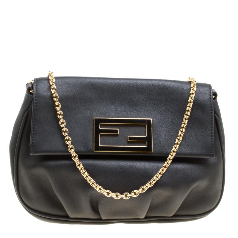 42daec032 Fendi Black Leather Fendista Pochette Crossbody Bag