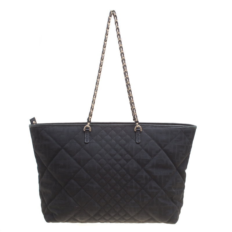 1cbb901e0 Buy Fendi Black Zucca Quilted Fabric Roll Tote 157772 at best price ...