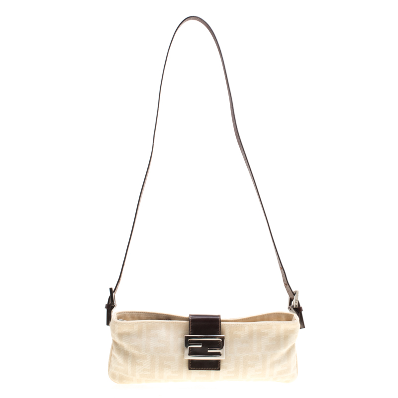 634e380215c Buy Fendi Off White Brown Zucca Canvas and Leather Shoulder Bag ...