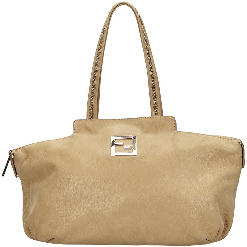 bcac3b0e726 Fendi Beige Leather Chain Handle Tote Bag