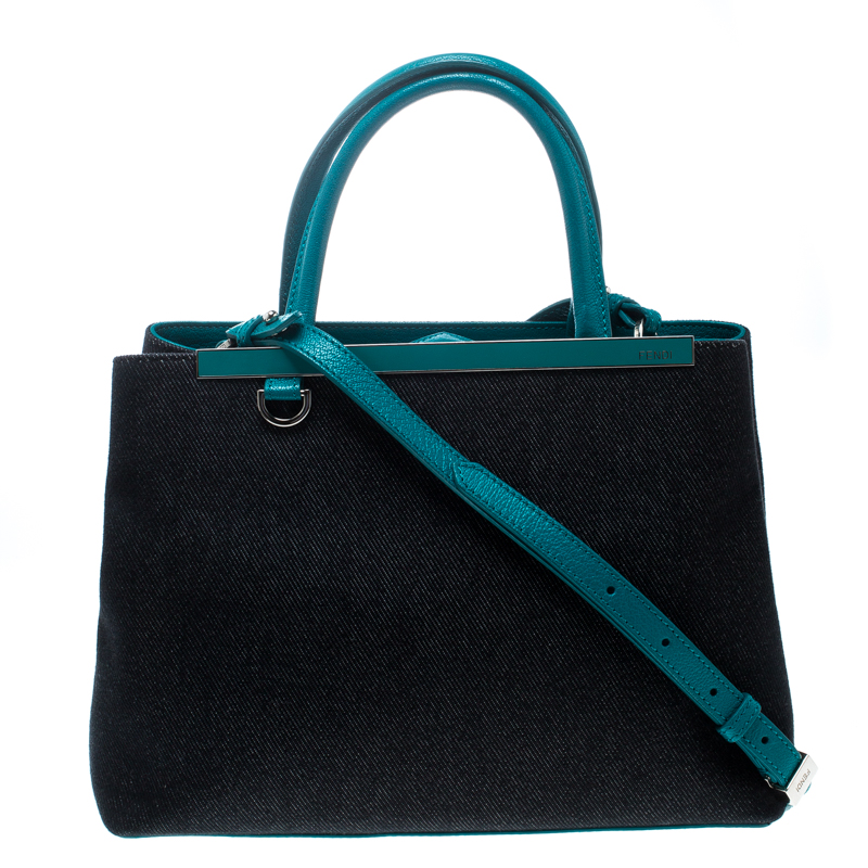 Buy Fendi Blue Green Denim and Leather Petite 2Jours Top Handle Bag ... 308dcf709361b