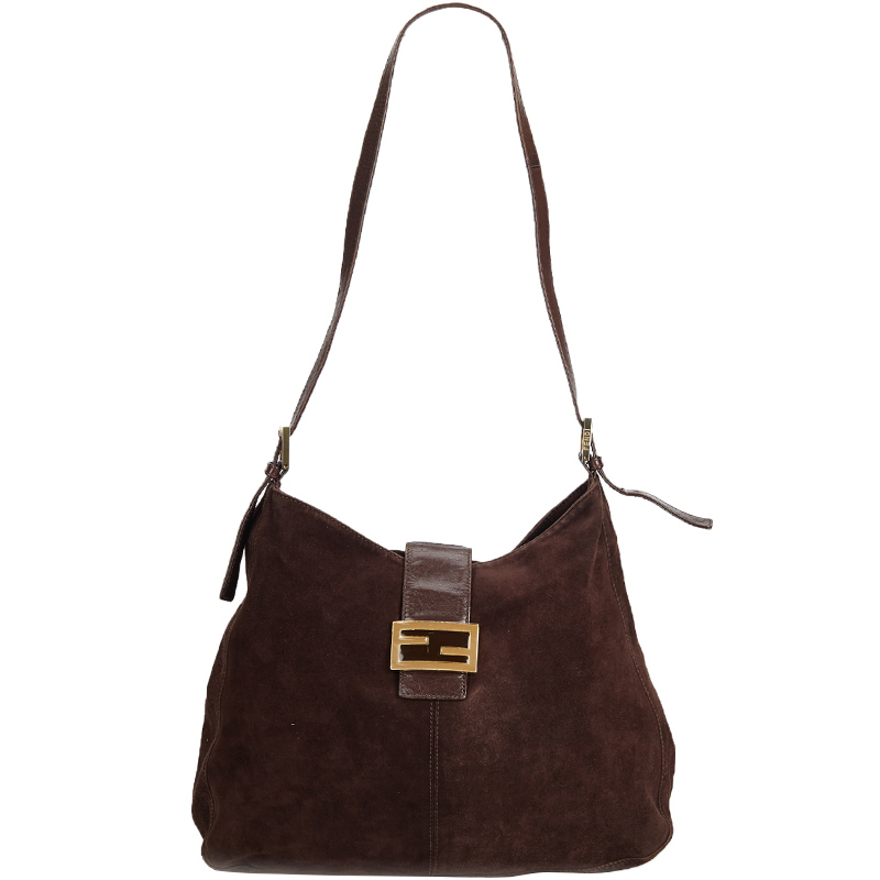3d019278 Fendi Dark Brown Suede Mamma Shoulder Bag