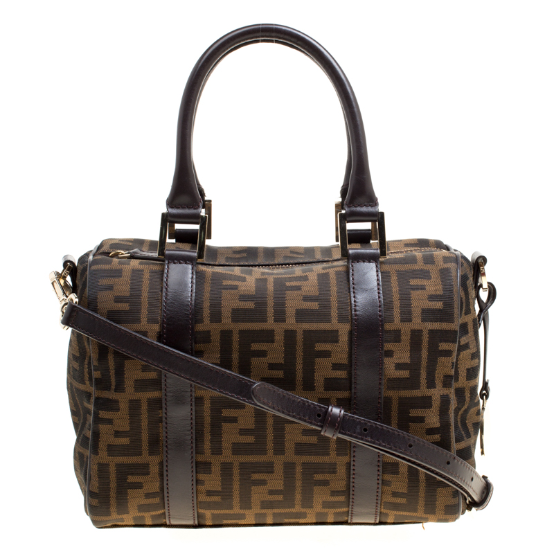 6ccca101306 Buy Fendi Brown Zucca Canvas Mini Top Handle Boston Bag 165562 at ...