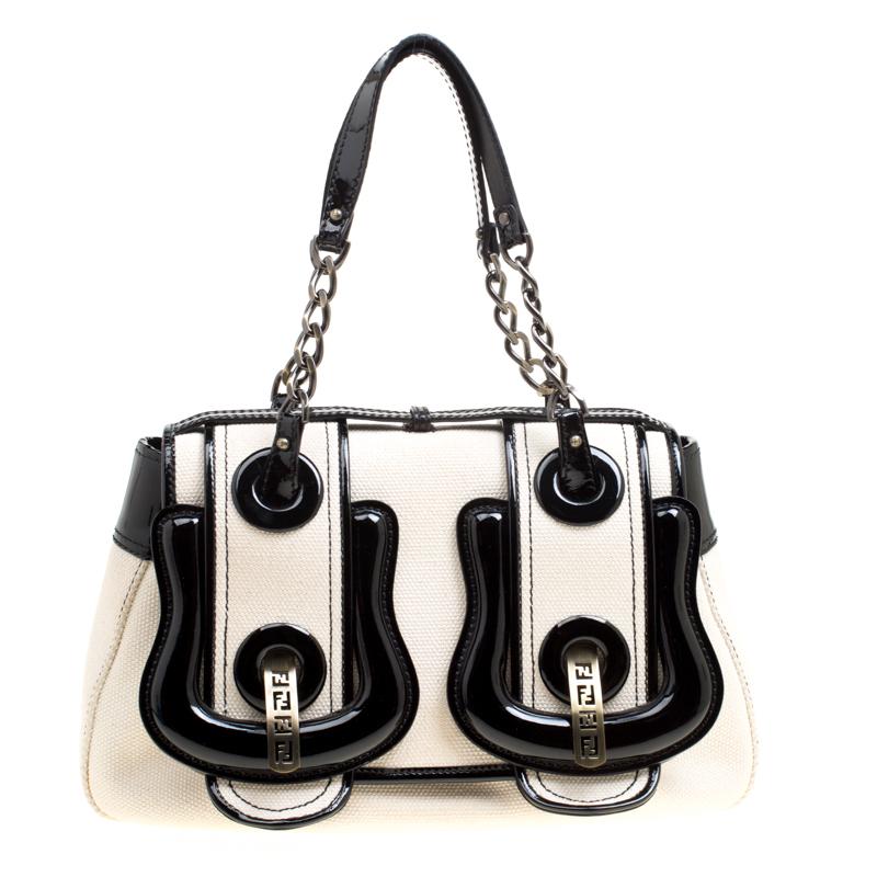 78c67056d4c Buy Fendi Off White Black Canvas and Patent Leather B Shoulder Bag ...