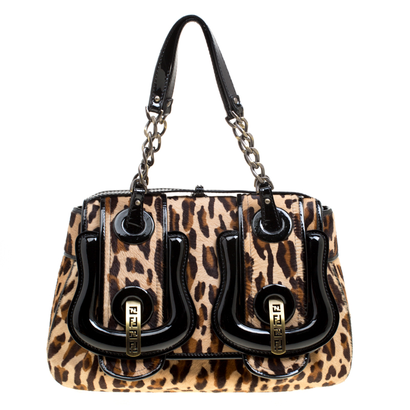 bb93511457f Buy Fendi Brown Black Leopard Print Hair On and Patent Leather B ...