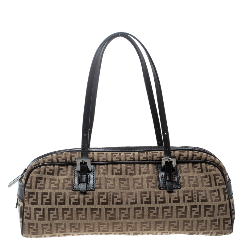 09efa05ef430 Buy Fendi Brown Zucchino Canvas and Leather Bowler Bag 166805 at ...