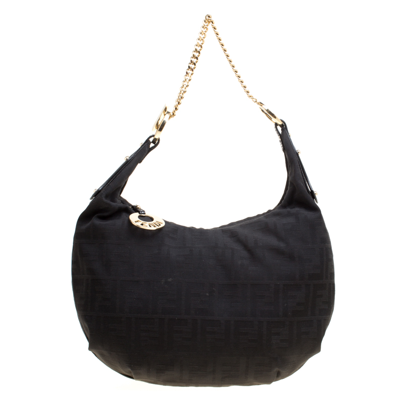 6f807a8a7337 Buy Fendi Black Zucca Canvas Chef Chain Link Hobo 166870 at best ...