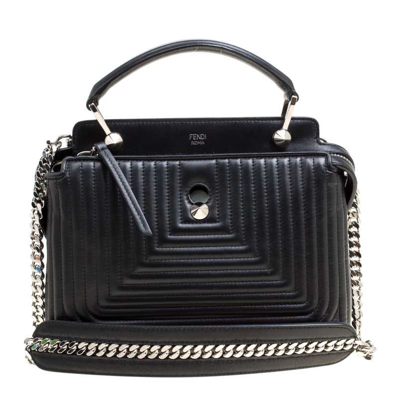 5ba5e42d9c ... Fendi Black Quilted Leather Dotcom Click Shoulder Bag. nextprev.  prevnext