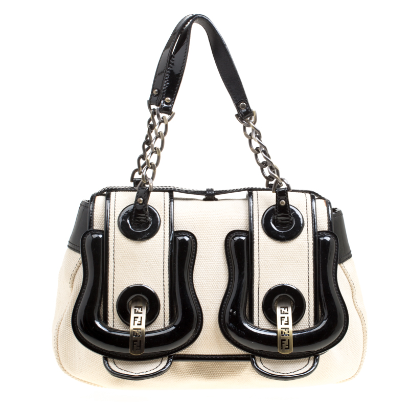9d97ce721a0e ... Fendi Beige Black Canvas and Patent Leather B Shoulder Bag. nextprev.  prevnext