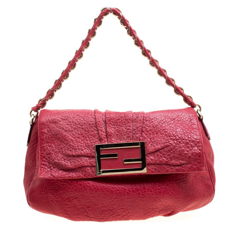 4b483fd0a4f ... Fendi Red Textured Leather Mia Flap Shoulder Bag. nextprev. prevnext