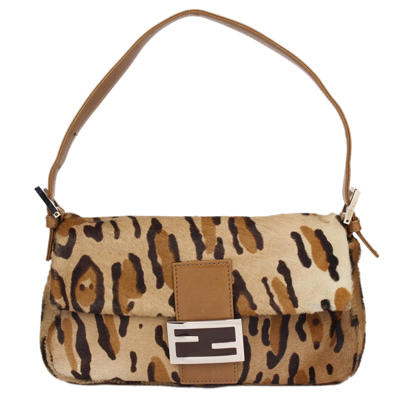 44ad8c59c00e ... Fendi Brown Leopard Print Pony Hair Baguette Shoulder Bag. nextprev.  prevnext