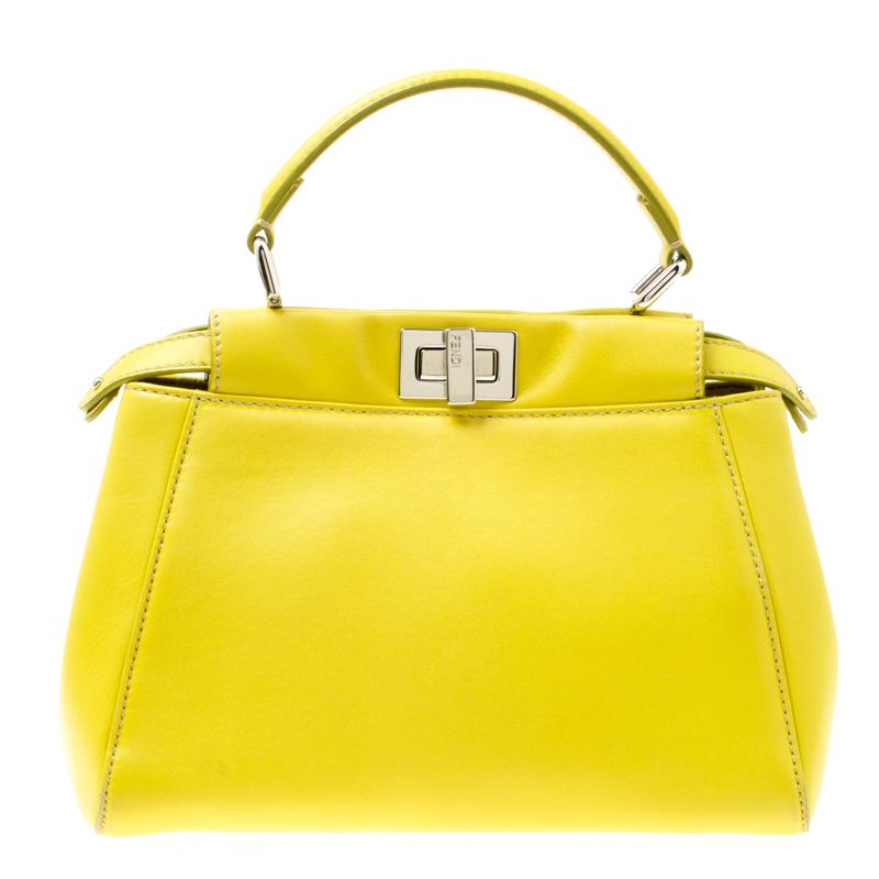 7501afd9 Fendi Yellow Leather Mini Peekaboo Top Handle Bag