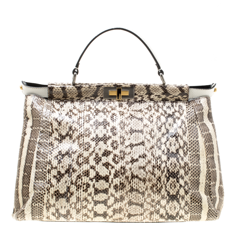 64cdd0f303 Fendi Beige Monocrhome Python with Suede and Python Lining Large Peekaboo  Bag