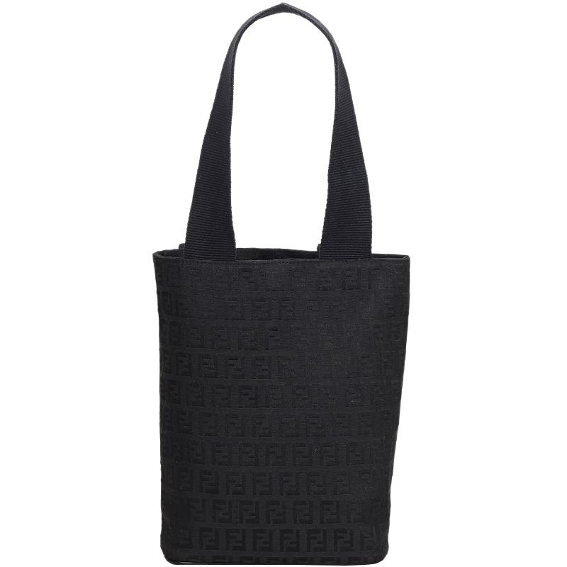 bd8f0bd3af96e Buy Fendi Black Zucchino Jacquard Everyday Bag 182041 at best price ...