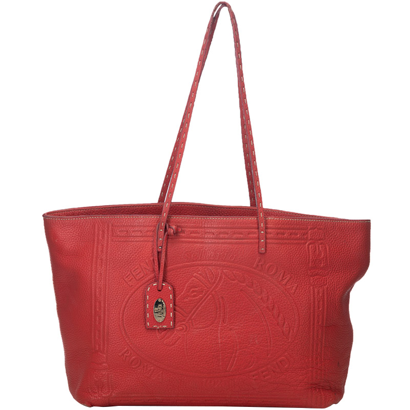 1b0295f6566f ... Fendi Red Leather Selleria Embossed Tote Bag. nextprev. prevnext