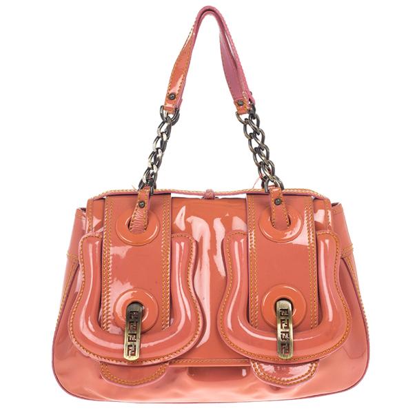 d863348defe0 Buy Fendi Orange Patent Leather  B Bag  Tote 18639 at best price
