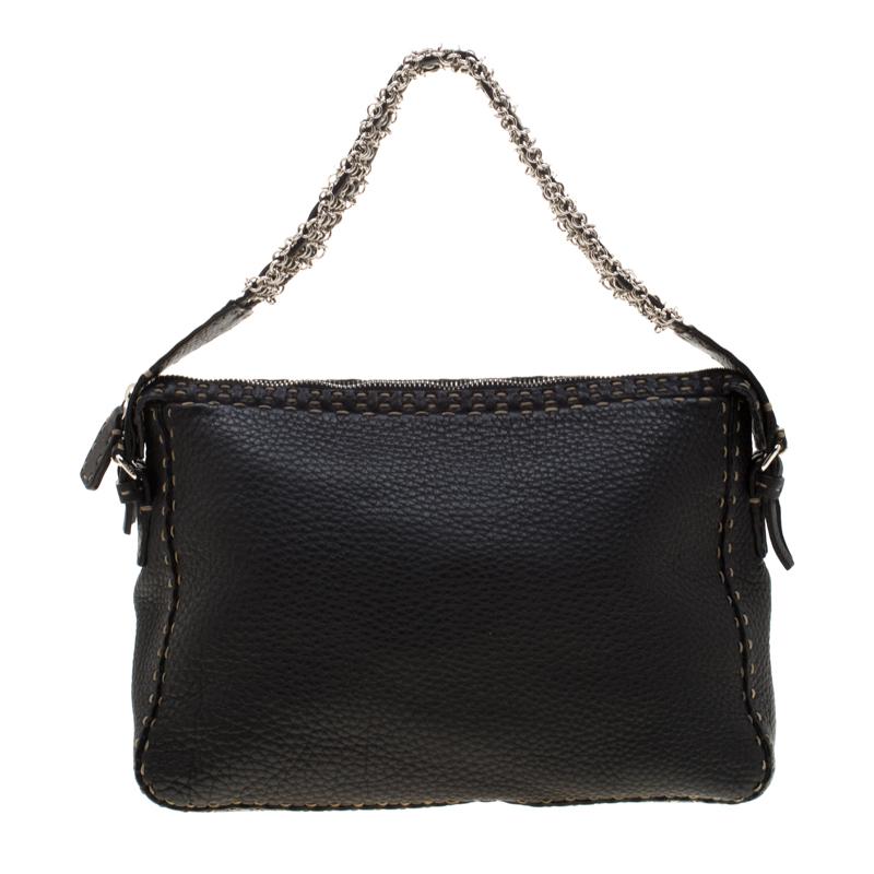 07711e39 Fendi Black Leather Shoulder Bag