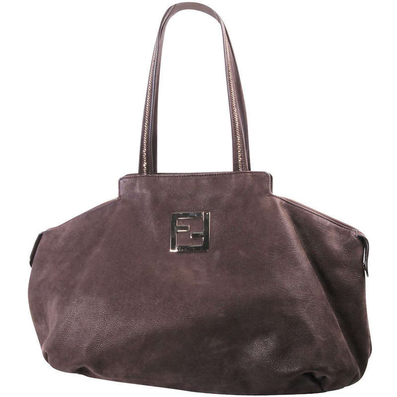 nice cheap pretty cheap outlet store Fendi Dark Brown Leather Large Tote Bag