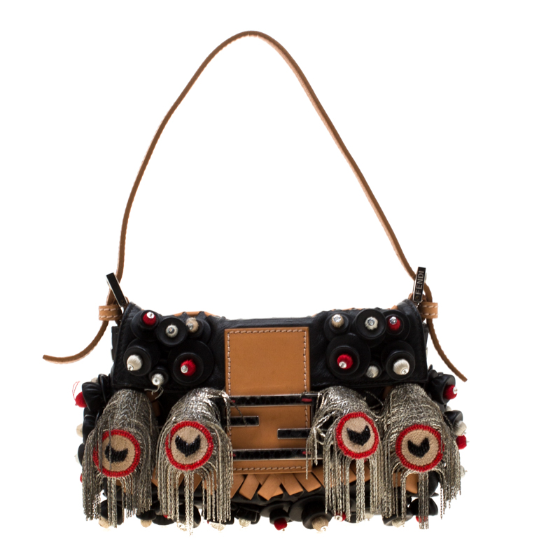 d32bdf0f613 Fendi Black Embellished Micro Baguette Shoulder Bag