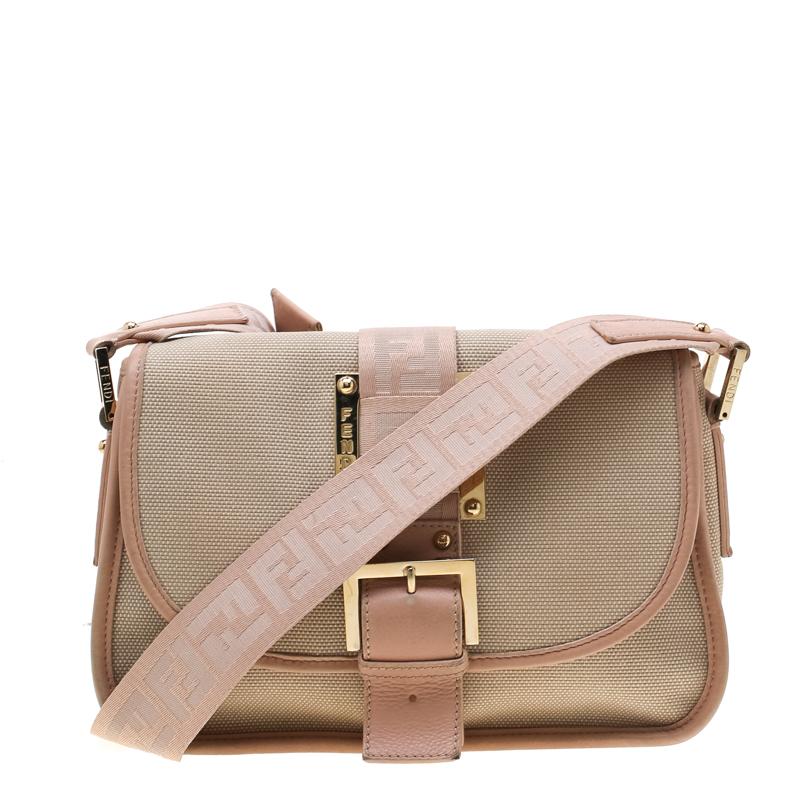17db580af Fendi Beige/Pink Canvas Flap Crossbody Bag