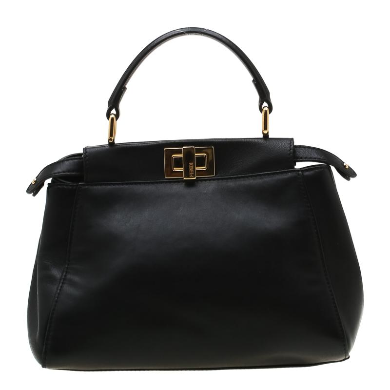 adc0a3ee3e Buy Fendi Black Leather Mini Peekaboo Top Handle Bag 197709 at best ...